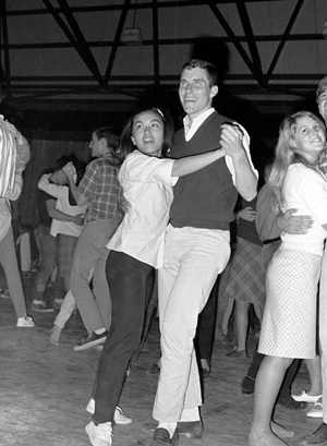 Students dancing in the Field House, 1966