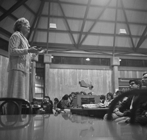 Mary Holmes, professor of art history, teaching in the East Field House, ca. 1966