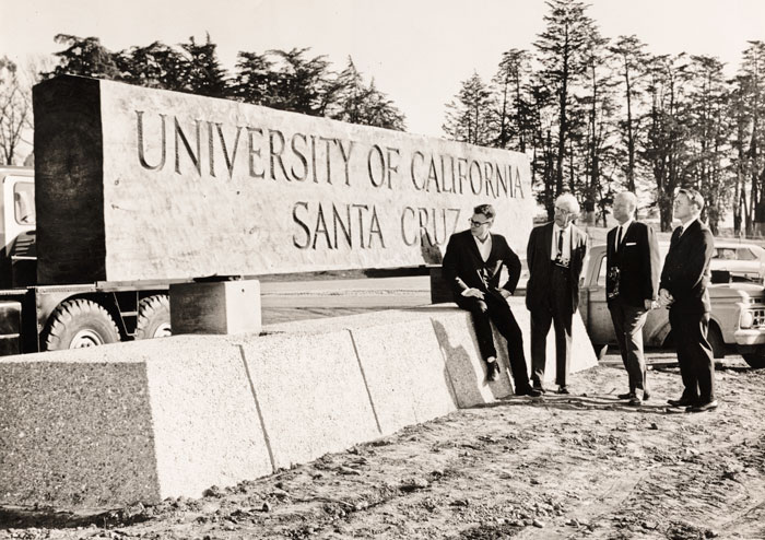 Installation of campus sign in 1966